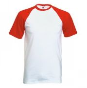 "Футболка ""Short Sleeve Baseball T"", белый с красным_S, 100% х/б, 160 г/м2"
