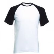 "Футболка ""Short Sleeve Baseball T"", белый с черным_S, 100% х/б, 160 г/м2"